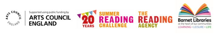Logos for The Summer Reading Challenge, Arts Council and Barnet libraries