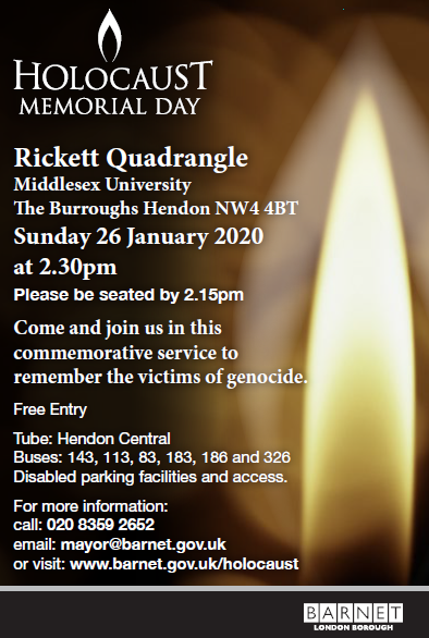 Holocaust memorial day flyer showing candle flame