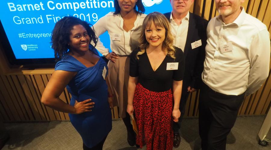Entrepreneurial Joanne Merchant (centre), Founder of When I Grow Up, is pictured with Entrepreneurial Barnet Judges (from left to right): Business Inclusion Co-ordinator at NatWest Sharniya Ferdinand, beauty company MD Vanessa Fernandes, Steve Leverton of business finance specialists Cornmill Associates, and Terry Magennis from Hammerson (co-owner of Brent Cross).
