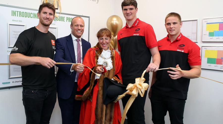 The Worshipful Mayor of Barnet, Councillor Caroline Stock, cuts the ribbon to officially open New Barnet Leisure Centre.