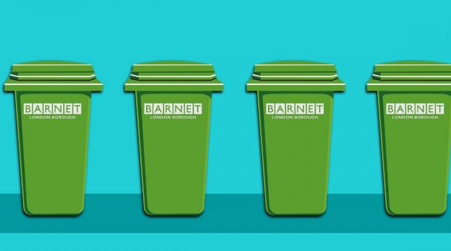 Image of a row of green bins