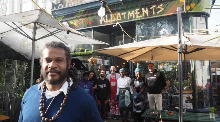 Nigeal Andall, Managing Director of the North London Community Consortium, and the team at his new venture, Allotmentz community cafe