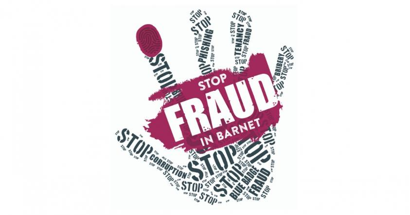 logo of a hand showing fraud week branding