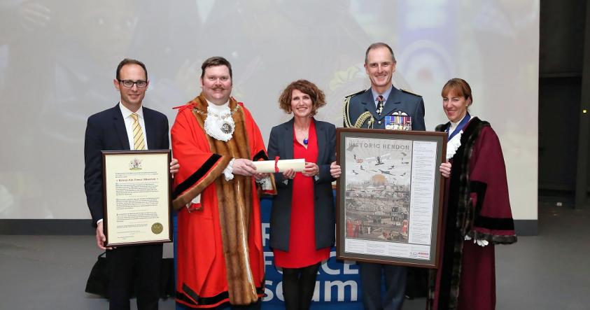 Councillor Thompstone giving RAF museum freedom of the borough