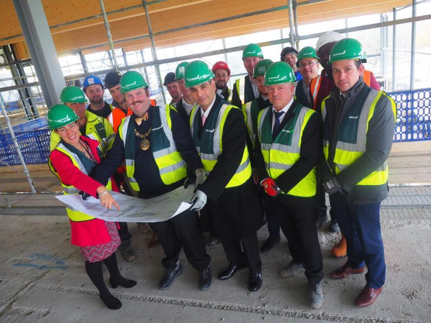 Councillors and stakeholders visiting construction site