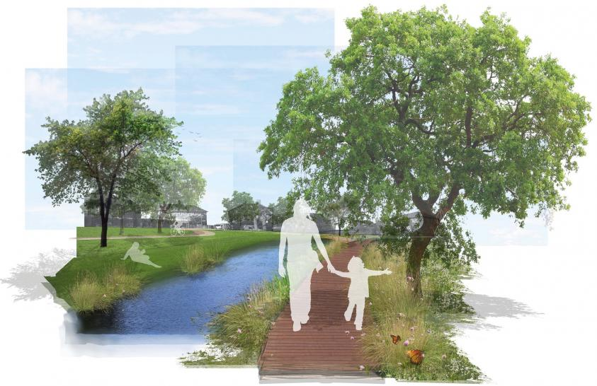 Artist's impression of Silkstream and Montrose Playing Fields new wet meadow