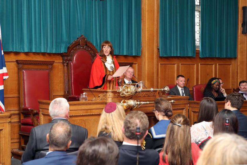 Councillor Caroline Stock being sworn in as the Mayor of Barnet