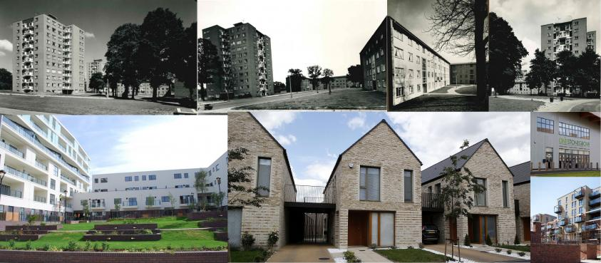 Edgware's Stonegrove and Spur Road estate after it was first built, decades ago, and after its regeneration was completed in 2018. It has become the first of seven major growth and regeneration projects to be completed under the council's Delivering for Barnet programme.