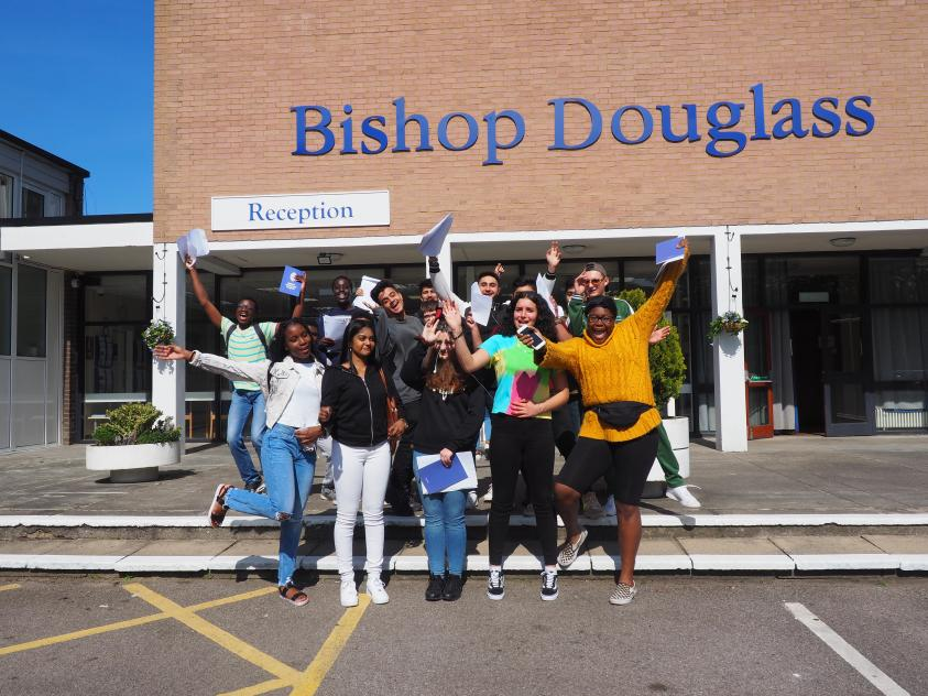 Pupils from Bishop Douglass celebrate