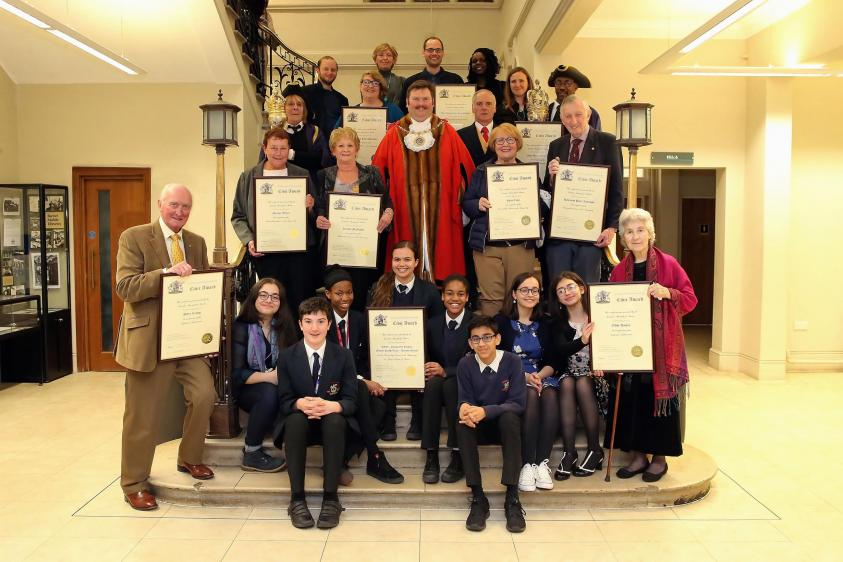 group photo of civic awards winners 2019